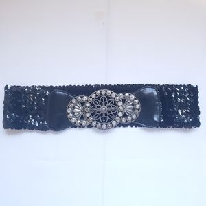 Black and silver sequin belt